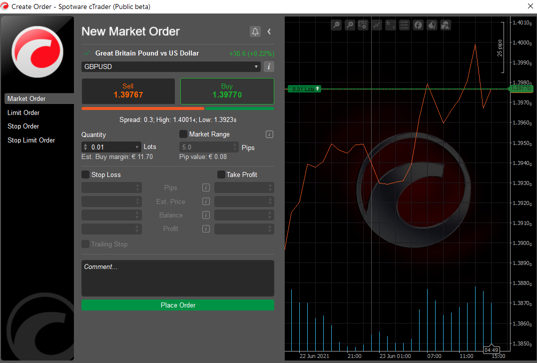 cTrader setting orders